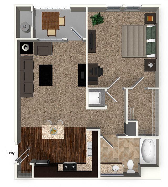 1 Bed 1 Bath 767 sqft A2.1 Floorplan