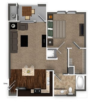 1 Bed 1 Bath 730sqft Floorplan