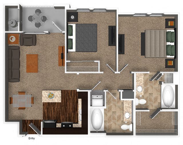 2 Bed 2 Bath 907 sqft B1.1 Floorplan