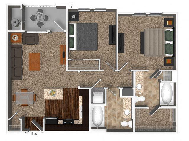 2 Bed 2 Bath 920 sqft B1 Floorplan