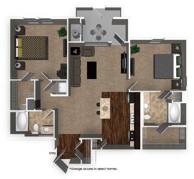 2 Bed 2 Bath 1160 sqft B3.2 FloorPlan