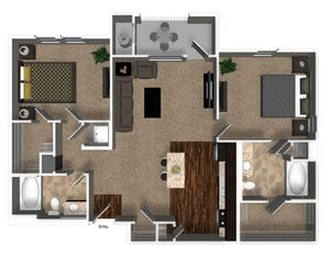 2 Bed 2 Bath 1072 sqft B3 Floorplan