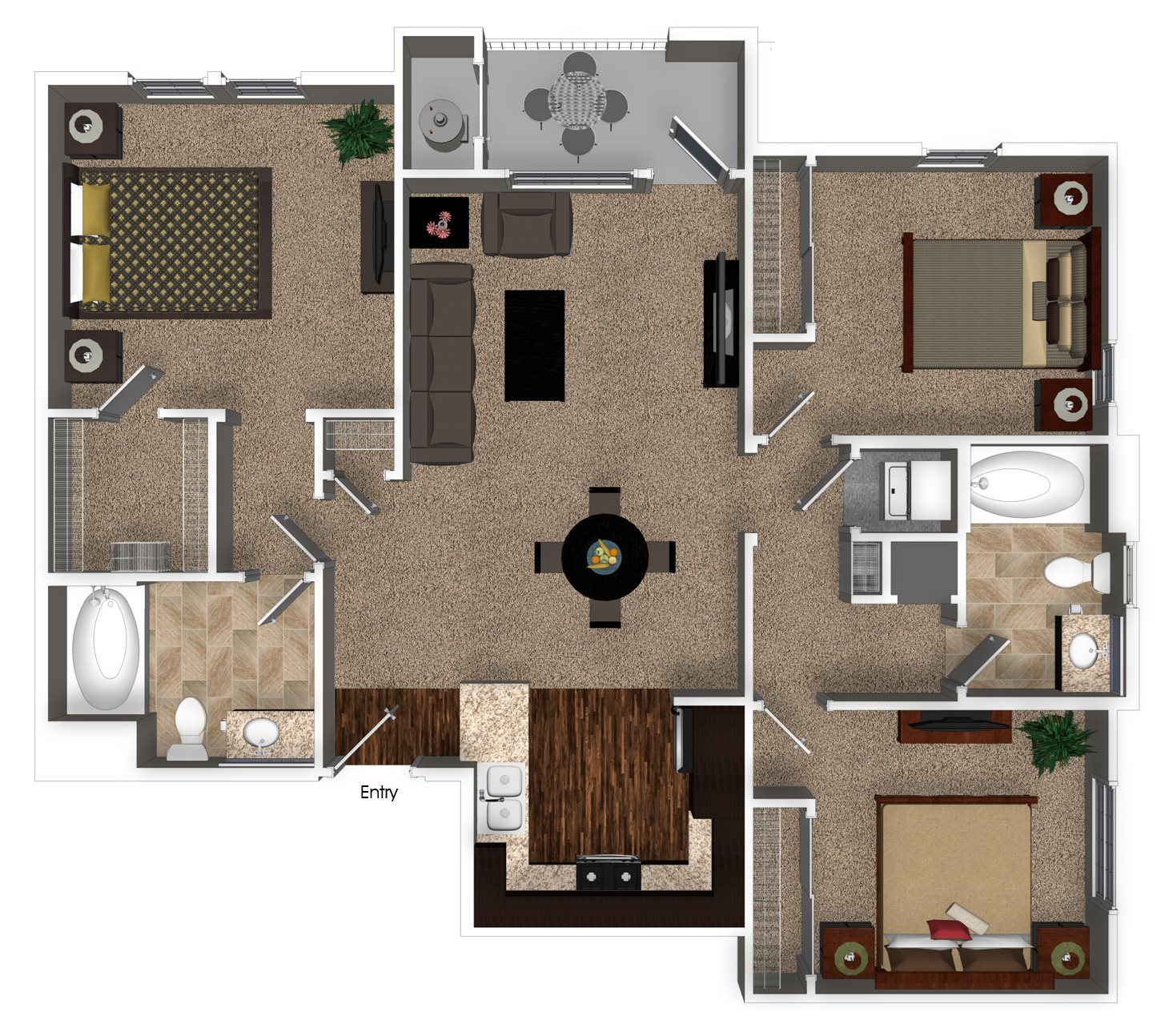 3 Bed 2 Bath 1188 sqft C1 Floorplan