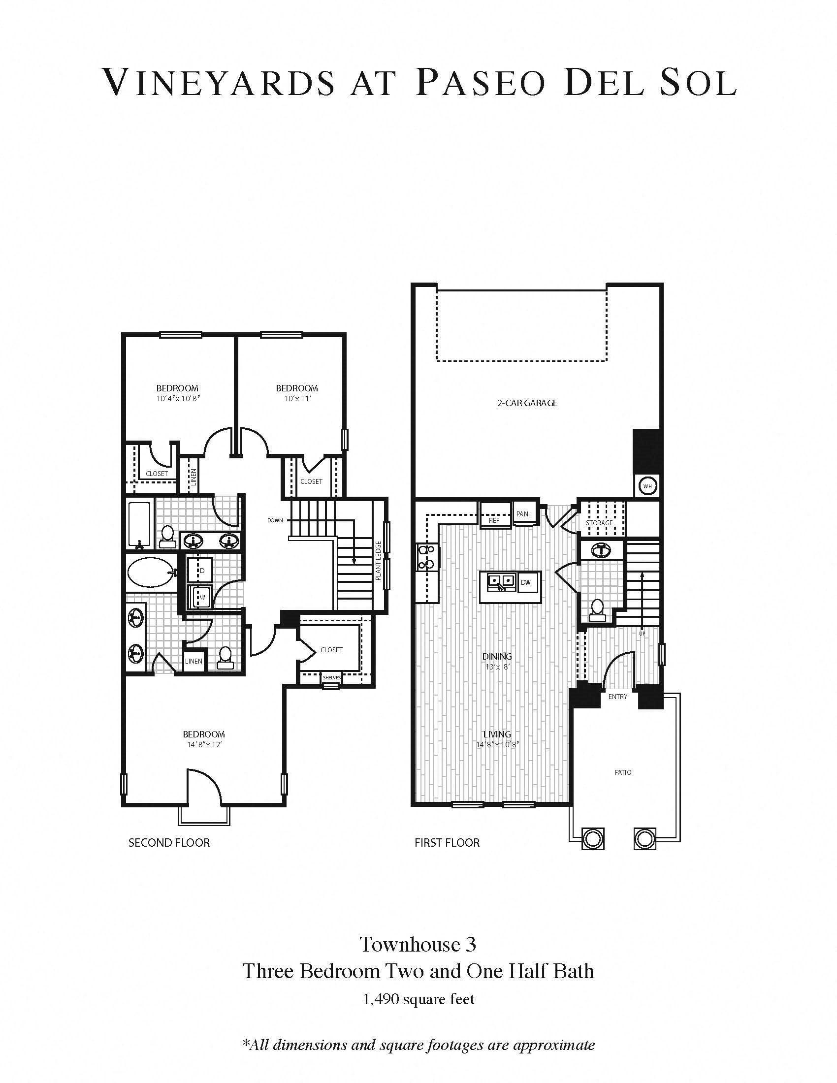 3b/2b - Townhouse Floor Plan 9