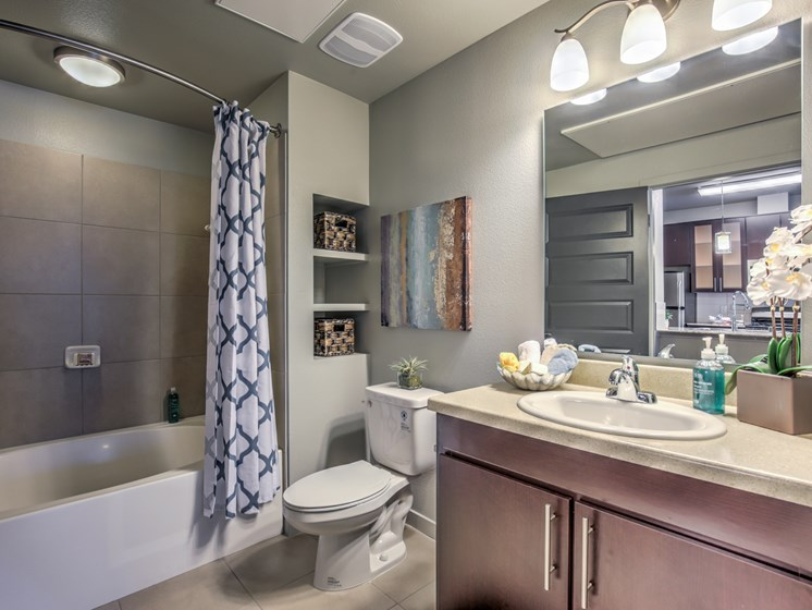 model unit bathroom with tub