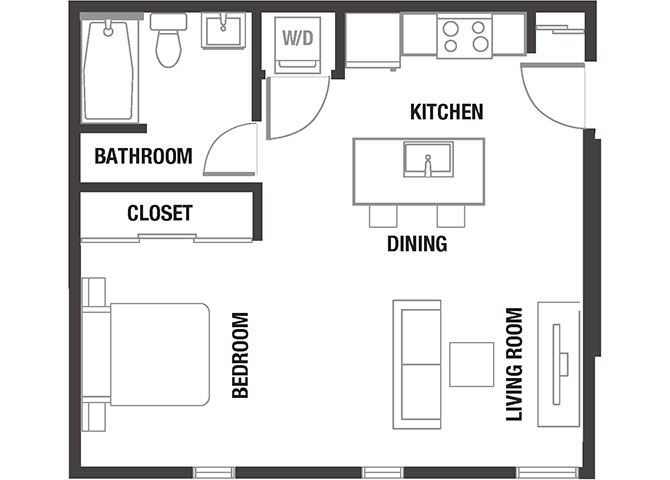 Studio Floor Plan at Watercooler, Boise, Idaho