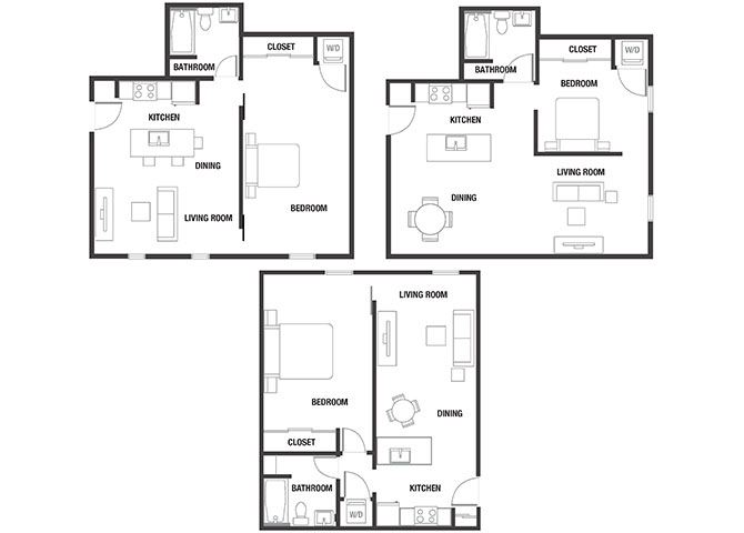 1BR x 1BA Floor Plan at Watercooler, Boise, ID, 83702