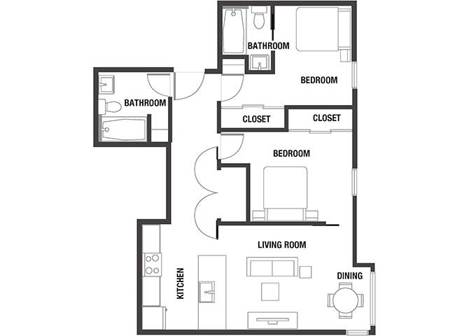 2BD x 2BA Floor Plan at Watercooler, Boise, ID