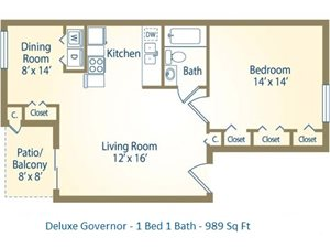 1x1 Deluxe Governor 989 Sq Ft