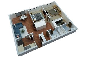 Two Bedroom/Two Bathroom-Simply Modern