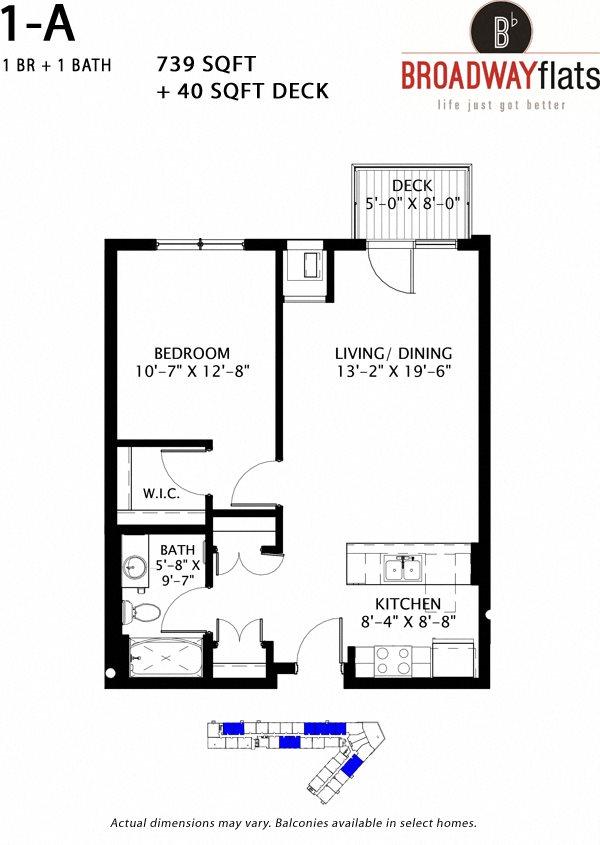 One Bedroom A Floor Plan 4