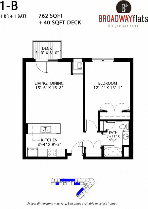 One Bedroom B Floor Plan 5