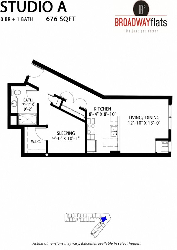 Studio A Floor Plan 1