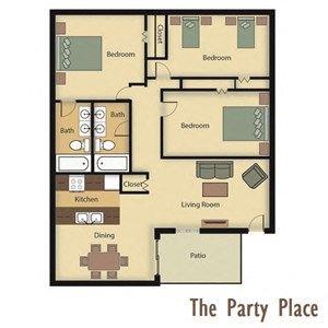 The Party Place - Three Bedroom, Two Bathroom