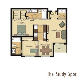 The Study Spot Floorplan - Two Bedroom, Two Bathroom
