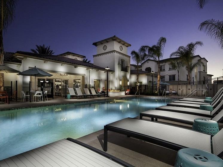 Swimming Pool with Lounge Chairs, at SETA, La Mesa, CA