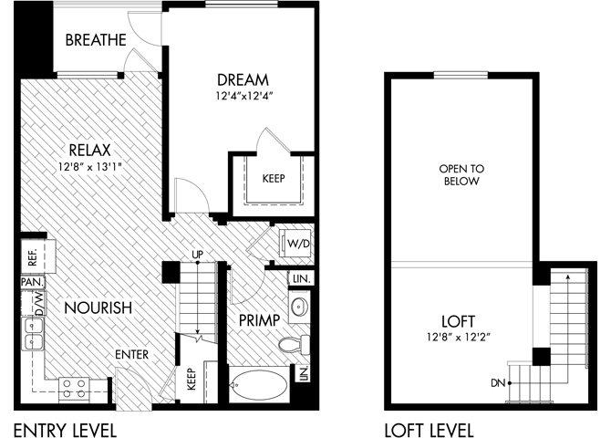 1 Bed 1 Bath Loft Floor Plan 3