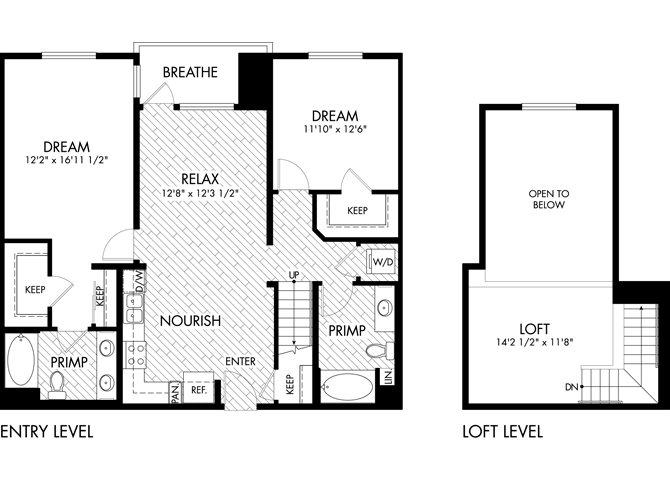 2 Bed 2 Bath Loft Floor Plan 5