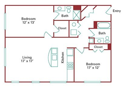 *New Construction* 2 Bedroom Apartment Floor Plan 4