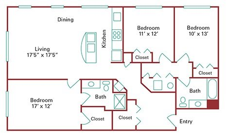 *New Construction* 3 Bedroom Apartment Floor Plan 7