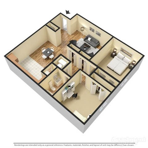 2 Bedroom Garden Apartment Floor Plan 1