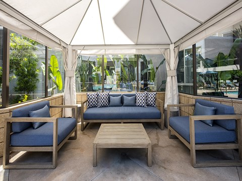 Poolside Cabanas with Lighting