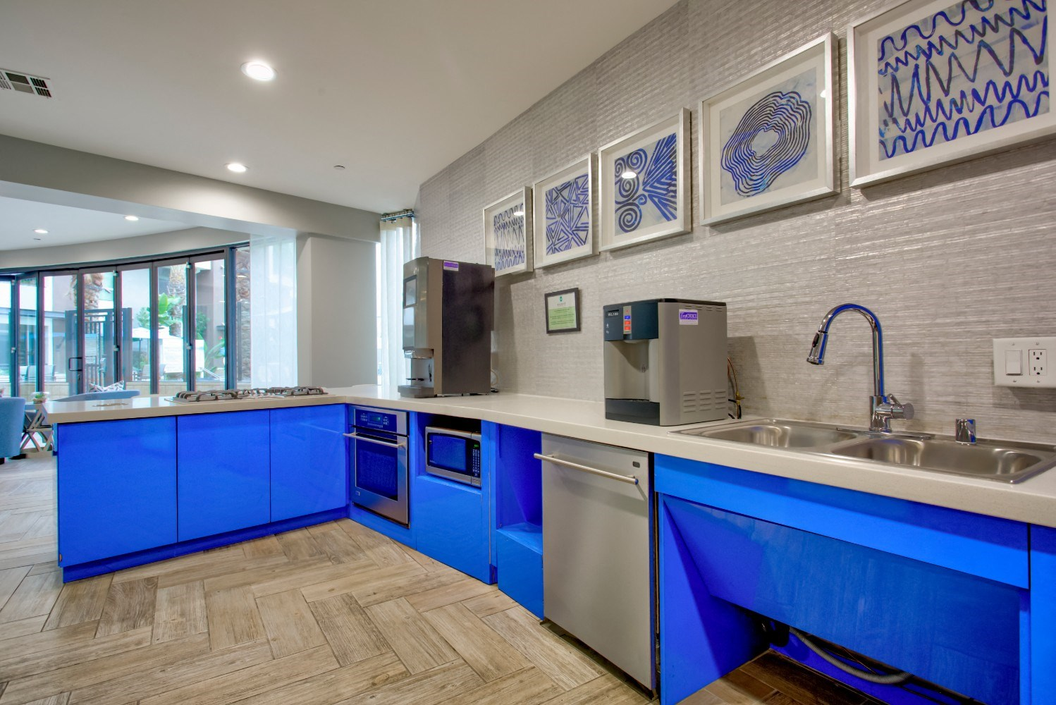 Clubhouse kitchen at Accent Apartments, CA 90066