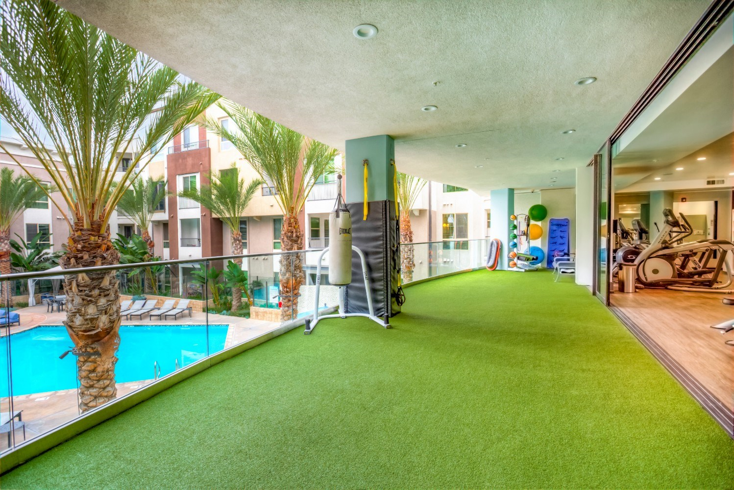 Outdoor fitness area at Accent Apartments, Playa Vista, California