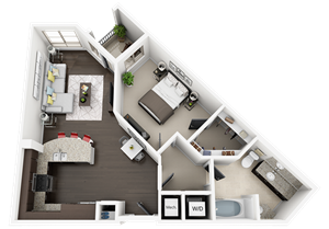 1 Bed 1 Bath plan A1 Floor Plan at Accent, Los Angeles