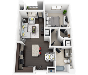 1 Bed 1 Bath plan A2 Floor Plan at Accent, Los Angeles, 90066