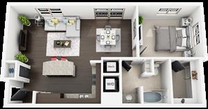 1 Bed 1 Bath plan A3 Floor Plan at Accent, Los Angeles, CA, 90066