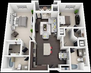 2 Bed 2 Bath plan B2 Floor Plan at Accent, California, 90066