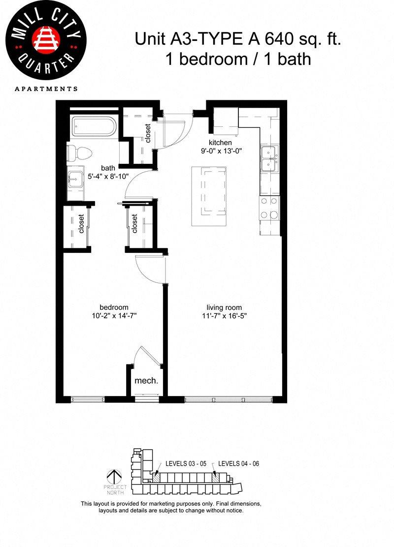 1x1 Floor Plan 3