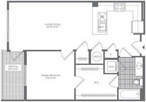 The Flats at Neabsco 739 SQFT 1 Bedroom w Balcony