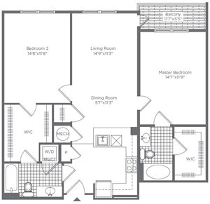The Flats at Neabsco 1091 SQFT 2 Bedroom