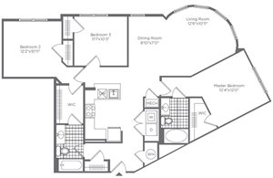 The Flats at Neabsco 1358 SQFT 3 Bedroom