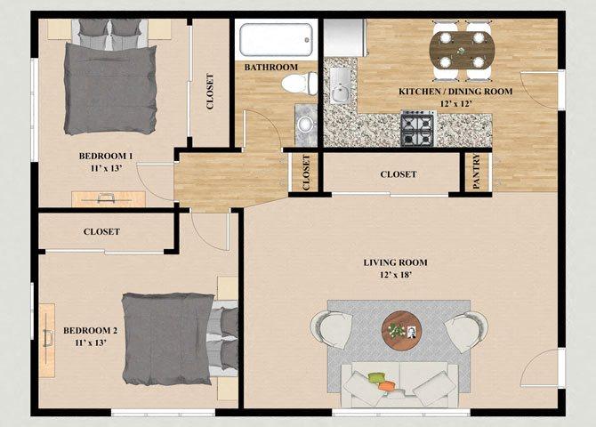 2 Bedroom 1 Bathroom Floor Plan at Cardinal Place