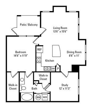 1 Bedroom, 1 Bath 1,005 sq. ft.