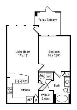 1 Bedroom, 1 Bath 734 sq. ft.