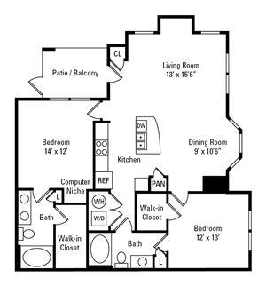 2 Bedroom, 2 Bath 1,161 sq. ft.