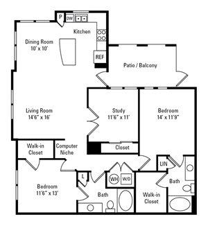 2 Bedroom, 2 Bath 1,368 sq. ft.