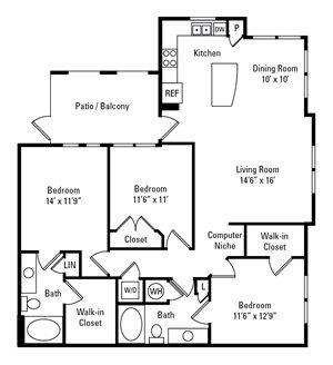 3 Bedroom, 2 Bath 1,368 sq. ft.