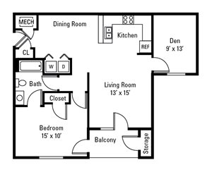1 Bedroom, 1 Bath with Den 922 sq. ft.