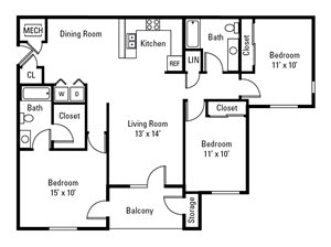 3 Bedroom, 2 Bath 1,206 sq. ft.