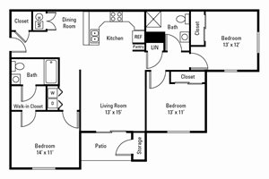 3 Bedroom, 2 Bath 1,206 sq. ft.