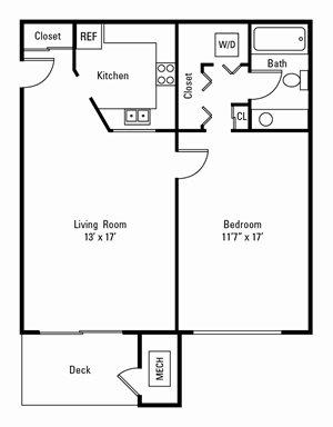 1 Bedroom, 1 Bath 672 sq. ft.