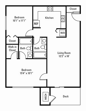2 Bedroom, 2 Bath 756 sq. ft.