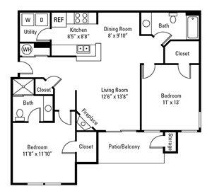 2 Bedroom, 2 Bath 1,002 sq. ft. (Oakmont)