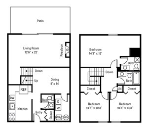 3 Bedroom, 2.5 Bath Townhome 1,408 sq. ft.