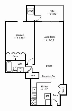 1 Bedroom, 1 Bath 700 sq. ft.